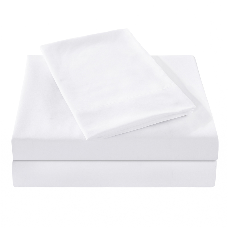 PHF White Home Hotel Bed Sheet Set 4pcs Polyester Bedding Set Luxury Flat Sheet Fitted Sheet 2 Pillowcase Queen Size Bed Line in Sheet from Home Garden