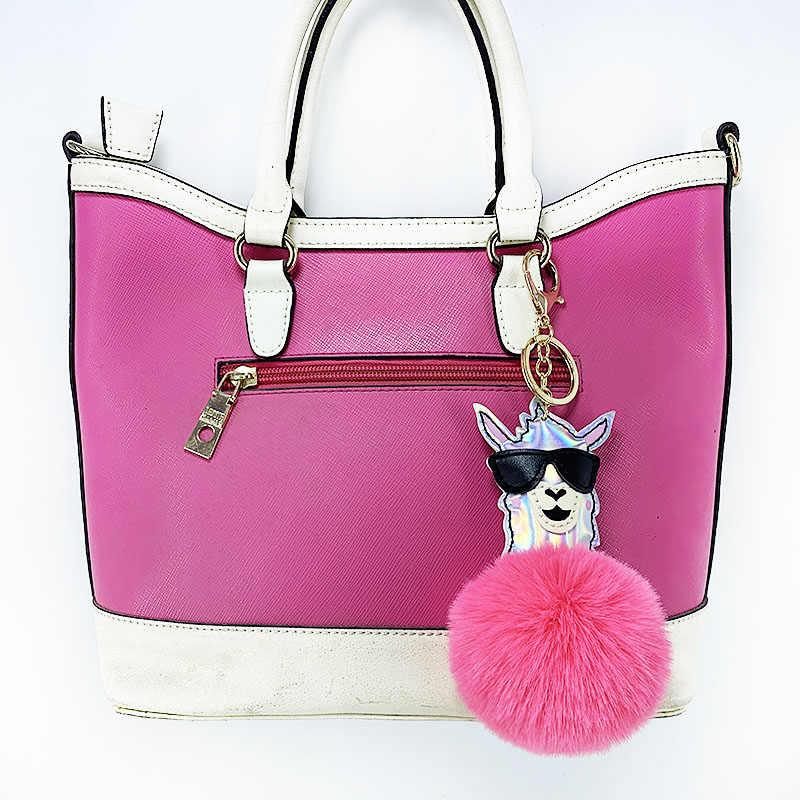 Nova lantejoulas PU bola alpaca chaveiro imitação coelho cabelo se sentir confortável senhoras bagagem decoração interior do carro pingente