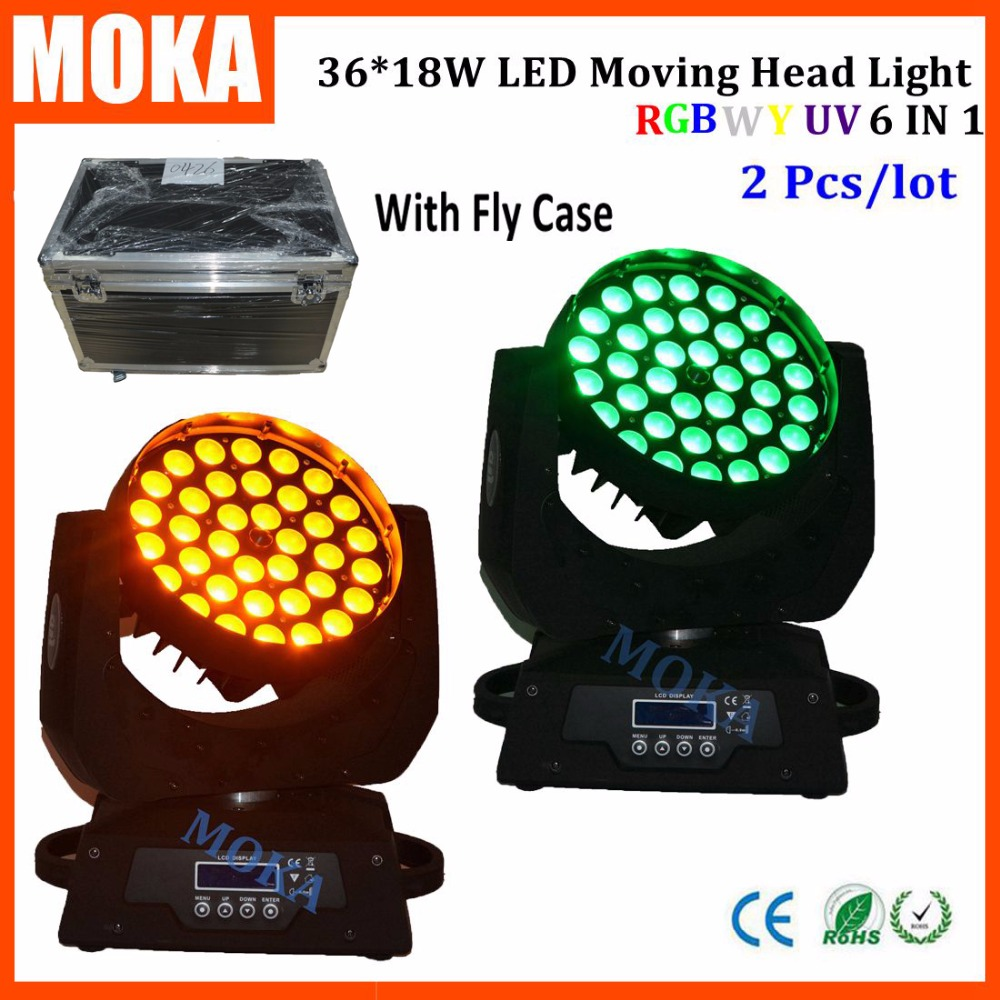 2PCS/LOT 6 IN 1 Wash Zoom RGBWY UV 18w*36 Led Sound Control Light Head Moving Effect Light Beam Angle 25 With Flight Case