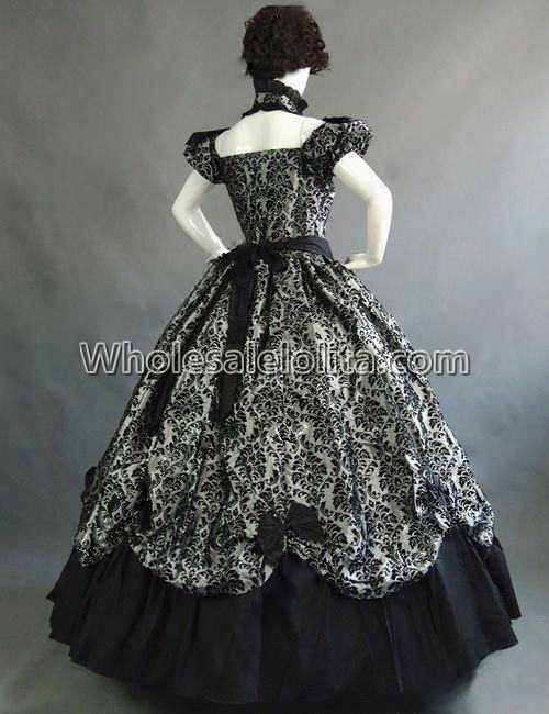 Vintage Costumes 1860 s guerre civile sud Belle gothique Lolita robe robes victoriennes - 3