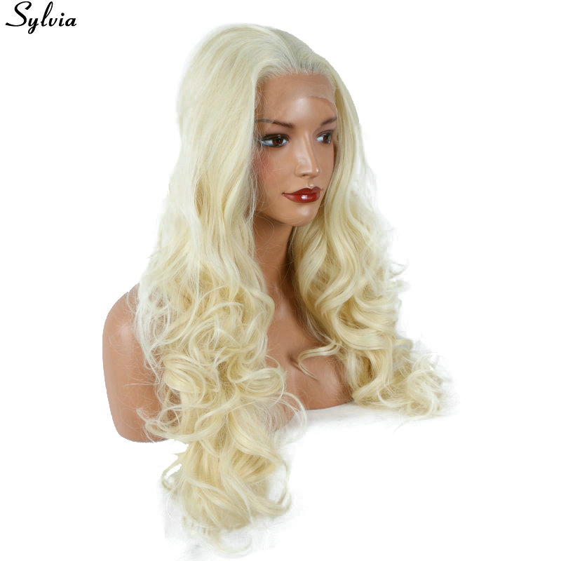 Sylvia 613# Blonde Synthetic Hair Lace Front Wigs Long Blonde Curly Half Hand Tied Replacement Full Wig For Women Heat Resistant