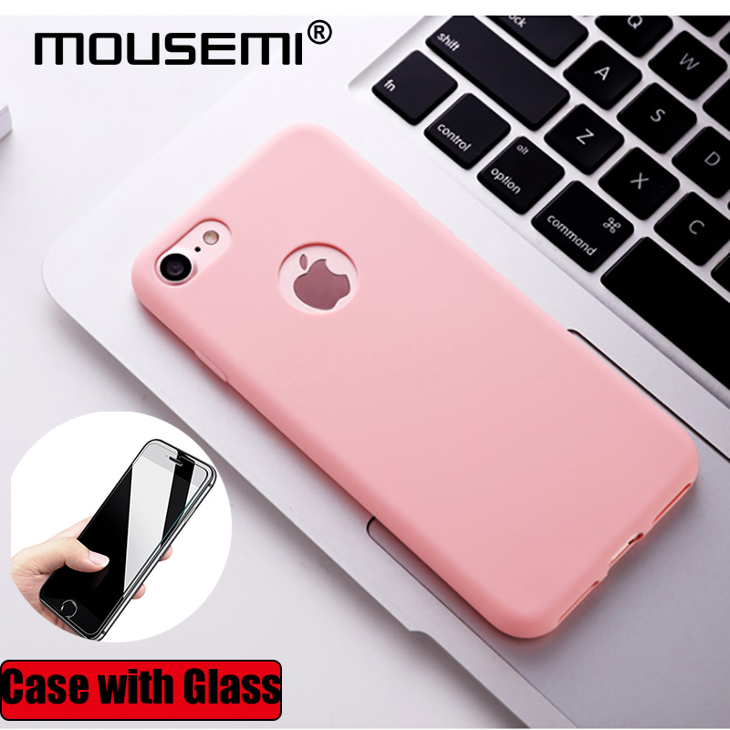 Mousemi For Iphone 7 Case With Glass On Silicone 360 Full