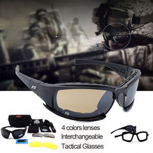 Airsoft Gear Tactical X7 Goggles Men Military Polarized Glasses Shooting Sunglasses 4 Lens Kit Cycling Sport Eyewear