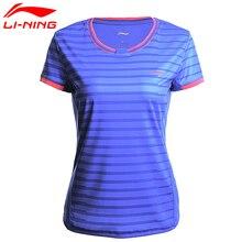 Li-Ning, новинка, женские рубашки для бадминтона, дышащие, удобные, обычная посадка, спортивные футболки с подкладкой, футболка AAYM132 CJFM17