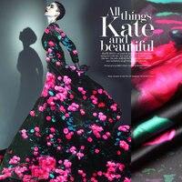 Pink Rose Printed Silk Elastic Satin Fabric Pure Silk Fabric