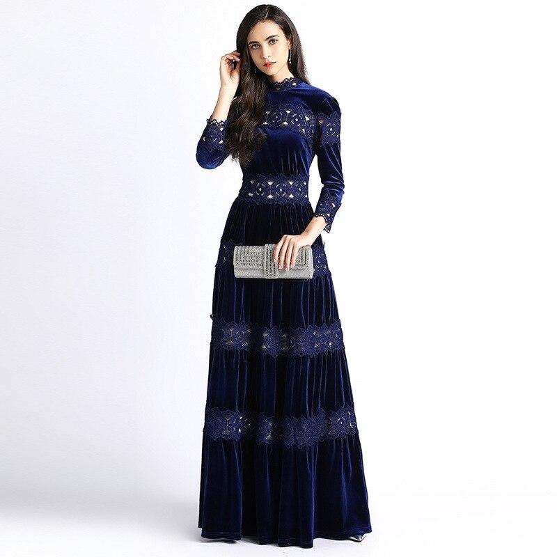 Haute qualité hiver Designer velours Maxi robes femmes 'loog manches élégant Patchwork évider broderie Vintage longue robe
