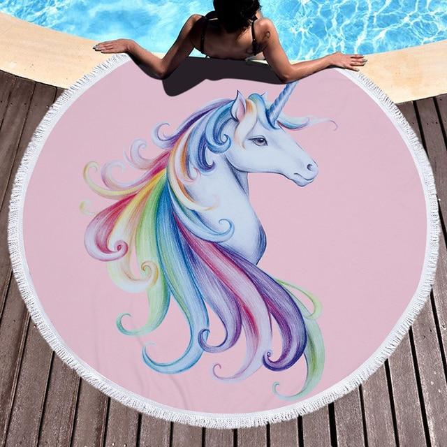 Round Microfiber Towel With Macrame Unicorn Thick Fashion Microfiber Beach Tablet Towel 480g Yoga Matt Round Tassels Beach Towel