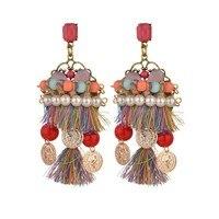 Big Star Style Bohemia Ethnic Colorful Rope Tassel Hyperbole Fashion Pearl Crystal Luxurious Charm Long Big