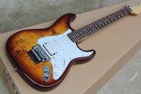 Custom Guitar Burl Pattern Natural Satinwood Body Electric Guitar Floyd Rose Tremolo Stratocaster Electric Guitar 914