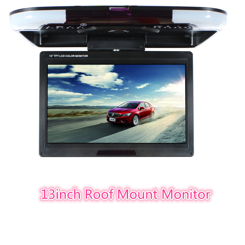 13 inch Car Monitor TFT LED Digital screen car Roof Mounted Monitor DC 12V Car monitor,2-way video input Flip Down monitor