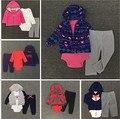 Новый Картер Baby Boy Девушка Одежда набор 3-х Частей Боди и Капюшоном С Длинными Рукавами Верхней Одежды и Брюки мягкого Хлопка Bebes комплект одежды