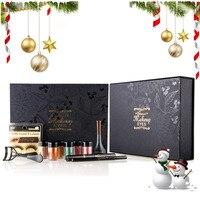 New Eyes Makeup Set With Christmas Card 6 Color Glitter Eyeshadow Eyebrow Pen Fake Eyelashes Mascara