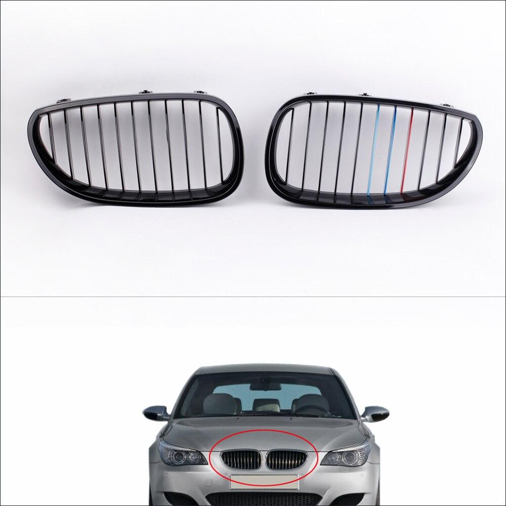 Avant de la voiture Grilles de Radiateur 2 Pcs Brillant Noir M-couleur Avant Calandre pour BMW E60 E61 5 Série berline 2004-2010