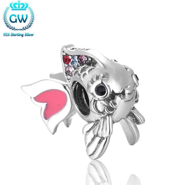 Bolas de pescado genuino plata 925 sterling silver charm europea apta diy pulseras regalo de la joyería cuentas de los animales gw marca d002