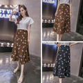 2017 Women new fashion Spring Summer sexy floral prints silm high waist  long skirts women casual womens skirts