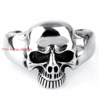 High Quality Punk Gothic 316L Stainless Steel Huge Heavy Skull Mens Biker Bracelet Bangle Cuff