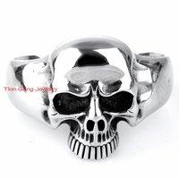High Quality Punk Gothic 316L Stainless Steel Huge Heavy Skull Mens Biker Bracelet Bangle Cuff