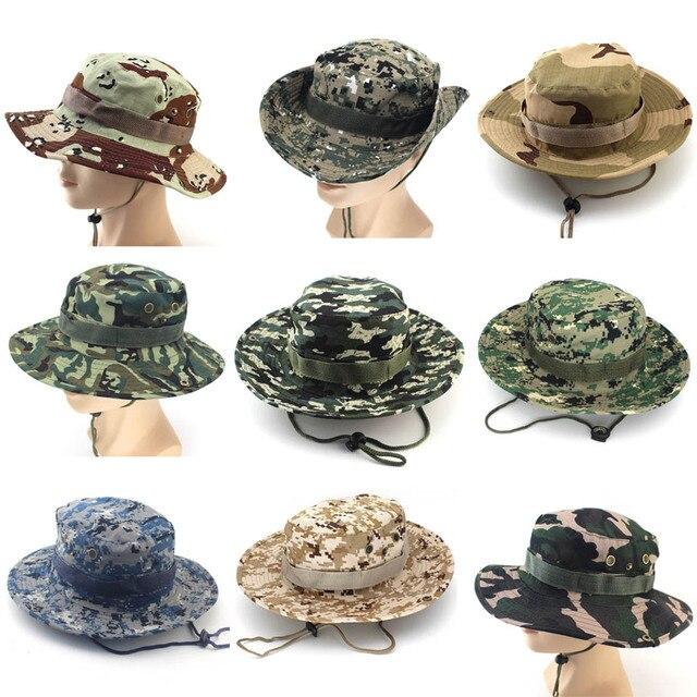 Camouflage Bucket Hats Wide Brim Sun Cap Ripstop Camo Fishing Hunting  Hiking Men Safari Summer Jungle with String Hat c0a6fc8015f7