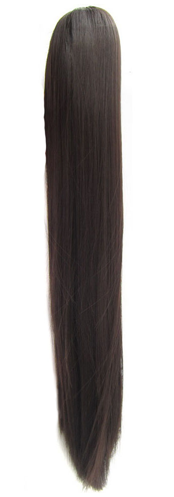 "QQXCAIW Women Girls Long Straight Natural Red Blonde Black Brown 20"" 55 Cm 170G Claw Ponytail Synthetic Hair Extensions"