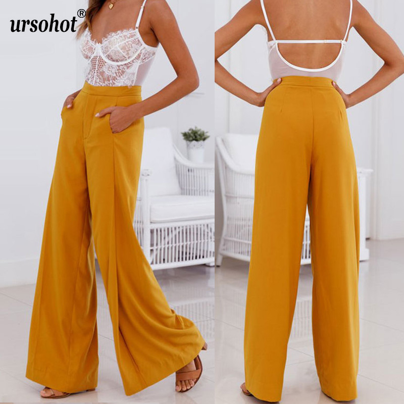 c23e9e4b6991 Detail Feedback Questions about Ursohot Summer Flare Wide Leg Chiffon Pants  Women 2018 Sexy High Waist Office Ladies Trousers Vintage Party Yellow  White ...