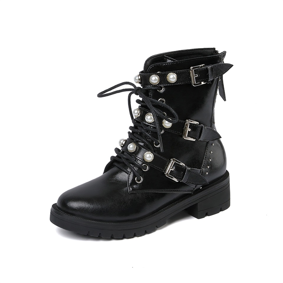 Autumn and winter fashion womens Martin boots high quality real leather buckle beautifully decorated lace up womens bootsAutumn and winter fashion womens Martin boots high quality real leather buckle beautifully decorated lace up womens boots