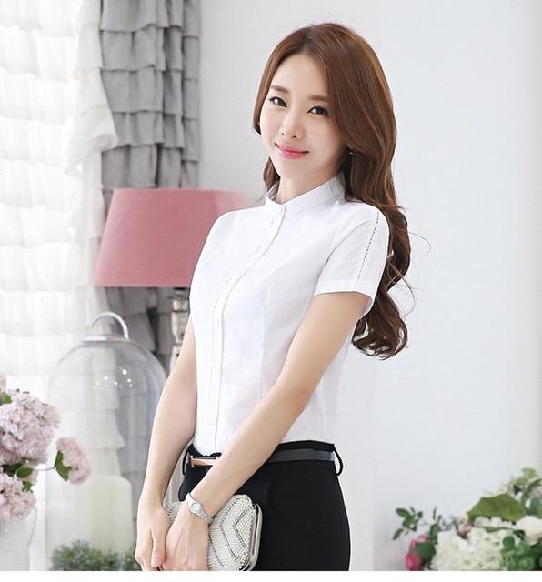 2016 Blue White Office Formal Uniform Chiffon Summer Short Sleeves Blouse Ably Blusas Women Blouses Tops Shirt Plus Size XXL