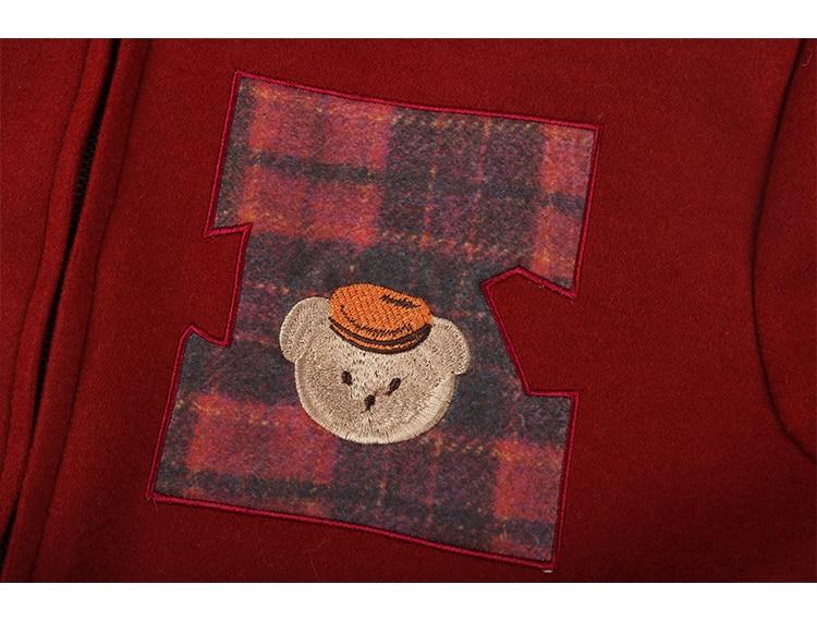 Velours Pardessus Haute Doublure De Dames Qualité Chaud Manteau Outwear Laine Hiver Épaississent Cachemire Rouge Mélange Ours Patch vvCYRqw