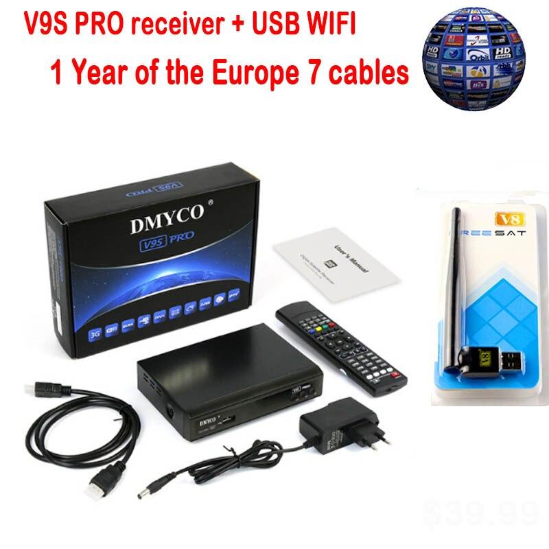 Décodeur satellite DMYCO Full HD 1080 p récepteur V9S PRO avec prise en charge USB WIFI clé BISS récepteur satellite IPTV Powervu Youtube