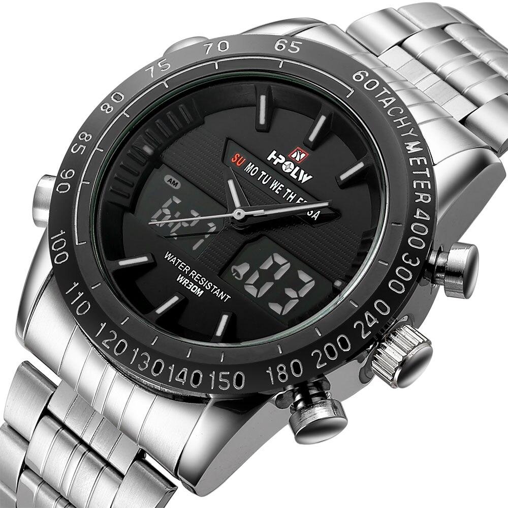 Men Steel Sport Watches Men's Quartz Digital LED Clock Man Military Wrist Watch
