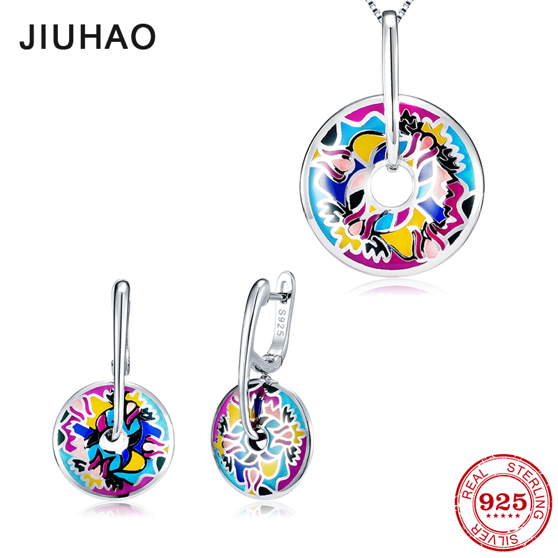 Jewelry set fashion colorful like flamboyant flower for women 925 Sterling Silver charms pendant Earrings Party