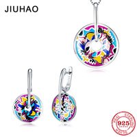 Jewelry set fashion colorful like flamboyant flower for women 925 Sterling Silver charms pendant Earrings Party Enamel