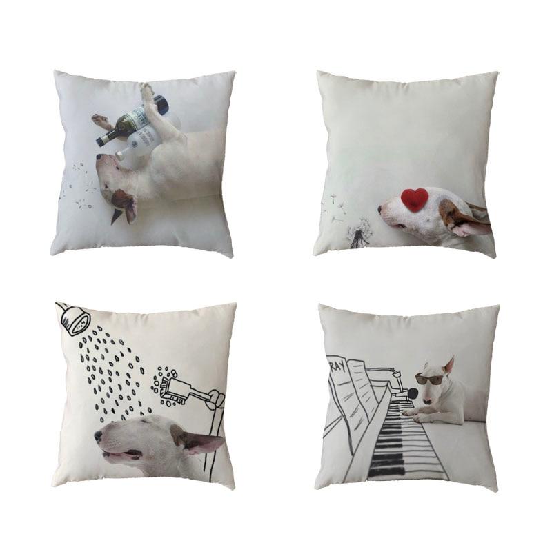 ⑦Alta calidad Blanco throw fundas de almohada cabeza Terrier amor ...