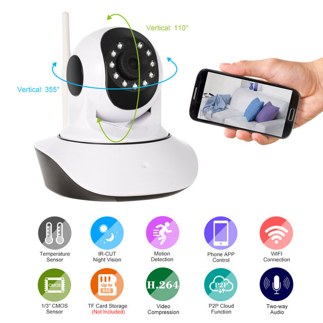 1080P Wireless Pan Tilt HD WIFI IP Camera 2.0MP Support PTZ Two way Audio Night Vision Temperature&Humidity Sensor Baby monitor