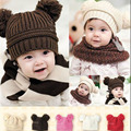 New Infant Headwear Winter Baby Hat Dual Ball Knitted Baby Caps Boys Girls Toddler Beanie Hairball Ear Baby Cute Children Caps