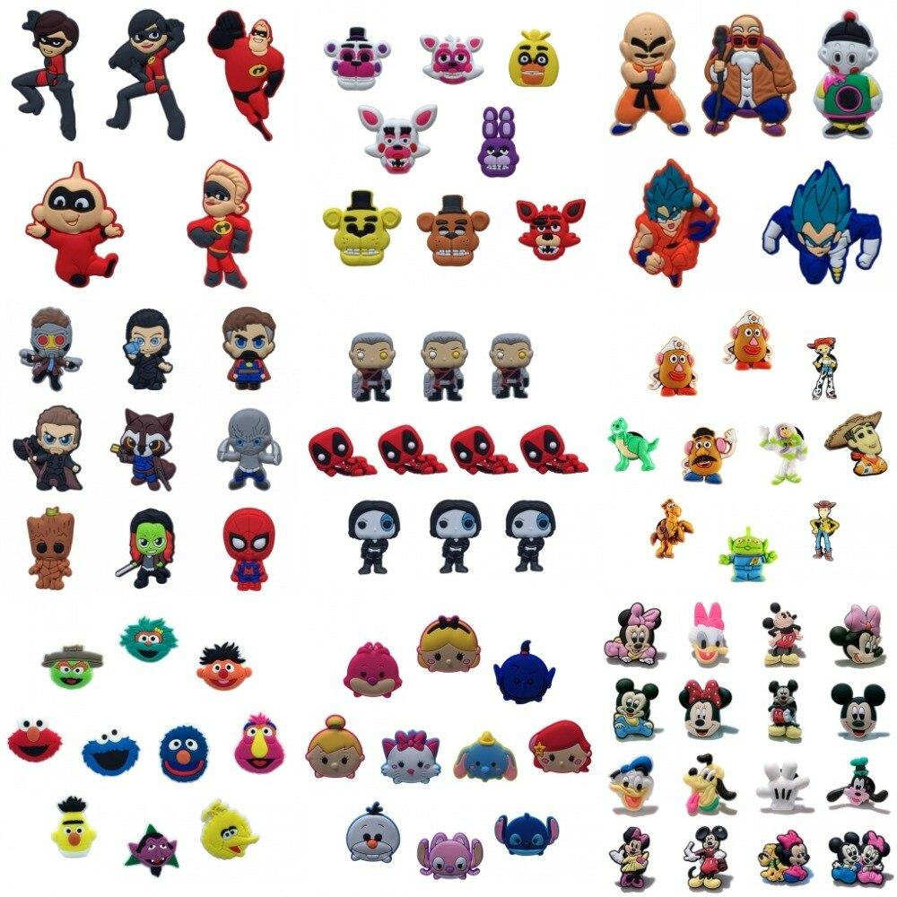 100PC Deadpool Different Cartoon Shoe Charms Avengers Shoe Buckle Accessories Fit Bands Bracelets For Croc JIBZ Party Gifts