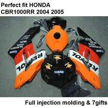 Набор обтекателей кузова мотоцикла для Honda CBR1000RR 04 05 оранжевые черные обтекатели комплект CBR 1000RR 2004 2005 CY02