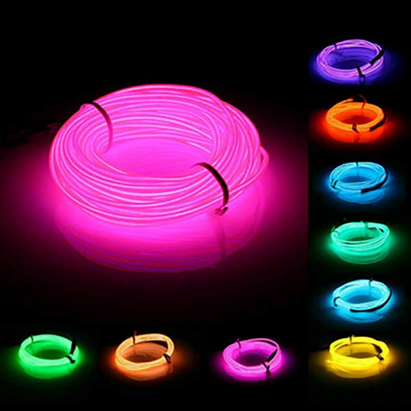 Colorful 20-220V 10M EL Led Flexible Soft Tube Wire Neon Glow Car Rope Strip Light Xmas Decor