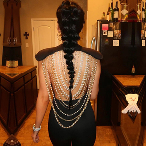 Image 3 - Adyce 2020 New Summer Women Jumpsuit  Elegant Beads Sexy Backless Sleeveless Chain Celebrity Night Club Party Jumpsuits Rompers