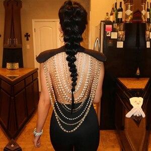 Image 3 - Adyce 2020 New Summer Women tuta elegante perline Sexy Backless senza maniche catena Celebrity Night Club tute da festa pagliaccetti