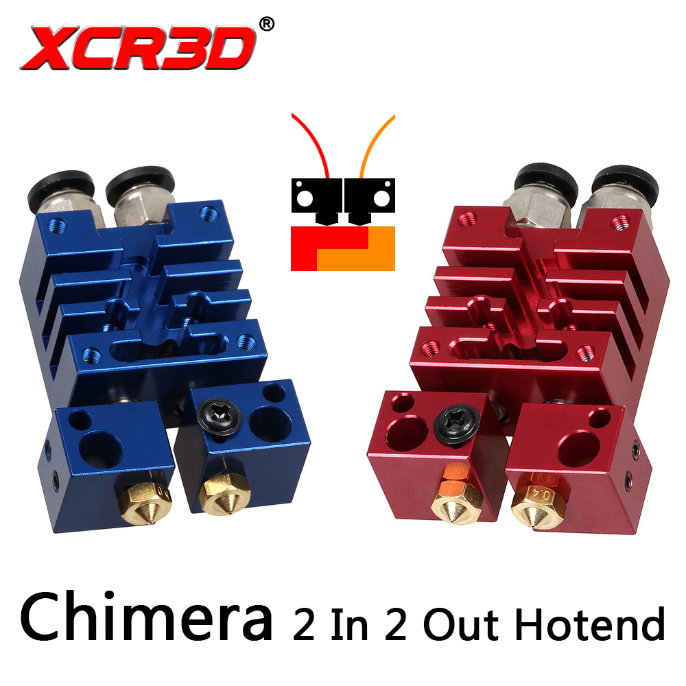 XCR3D Improved Version Chimera 2 In 2 Out Hotend Dual Color Switching Hotend Kit 0.4mm/1.75mm Nozzle For 3D Printer Parts