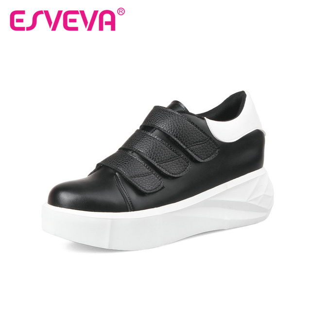 ESVEVA 2016 Casual Shoes Women High Heel Soft Leather Spring / Autumn Women Pumps Fashion Shoes Round Platform Shoes Size 34-43