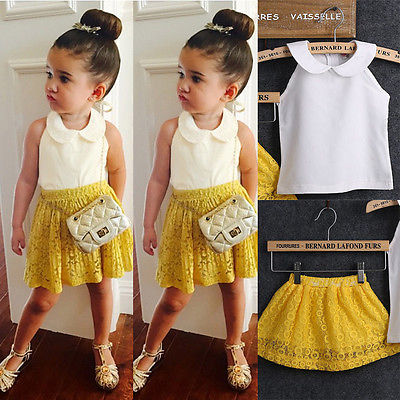 Cute Toddler kids Girl Sleeveless Chiffon Tops Yellow Lace Tutu Skirts 2Pcs Clothes Set Outfits Suit Set Summer Infant Clothing princess toddler kids baby girl clothes sets sequins tops vest tutu skirts cute ball headband 3pcs outfits set girls clothing