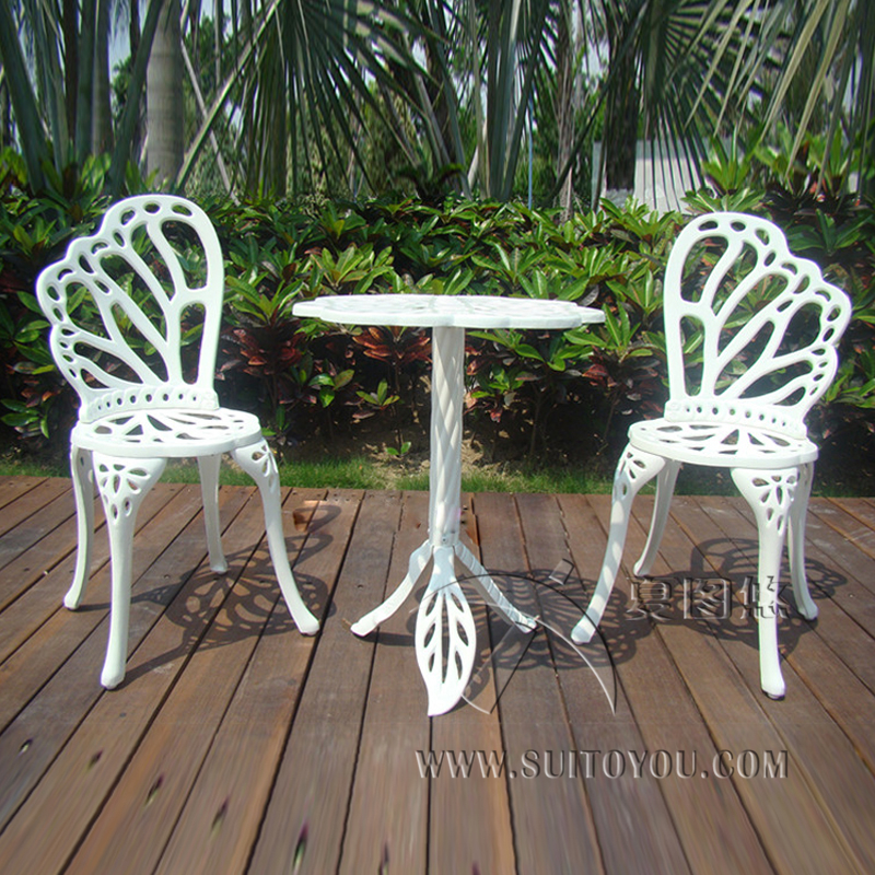 3 piece hot sale cast aluminum patio furniture garden furniture outdoor chairs an table in white. Black Bedroom Furniture Sets. Home Design Ideas