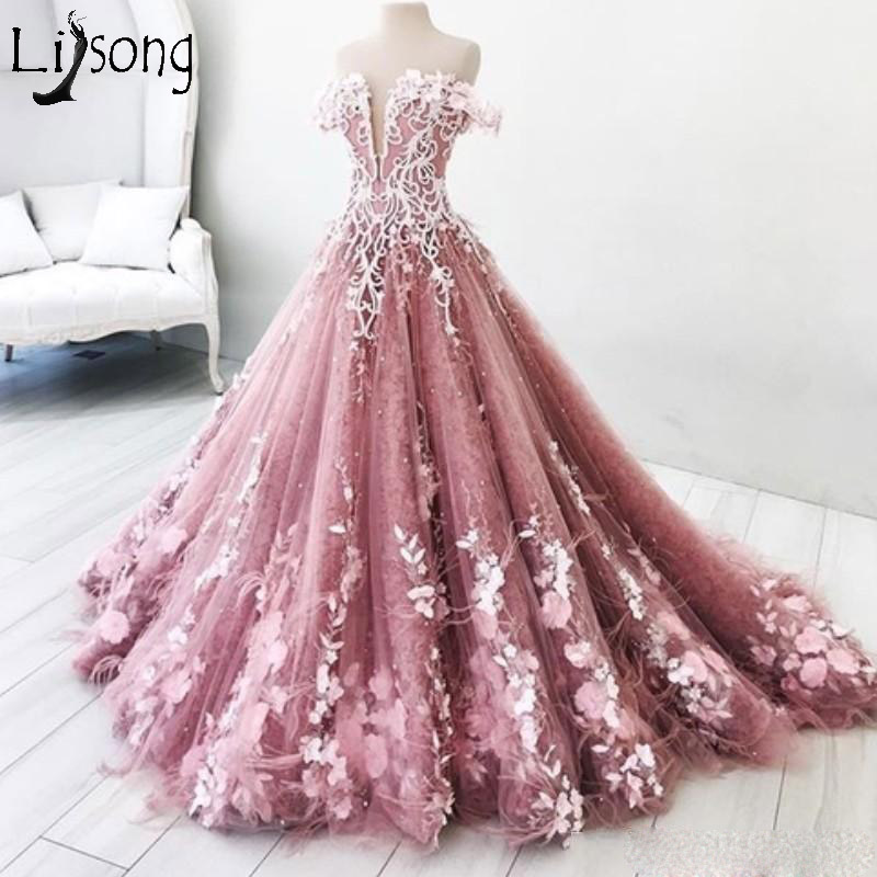 Princess 2018 Prom Dresses Long Off The Shoulder Appliques Long Lace Evening Gowns Vestidos Custom Made