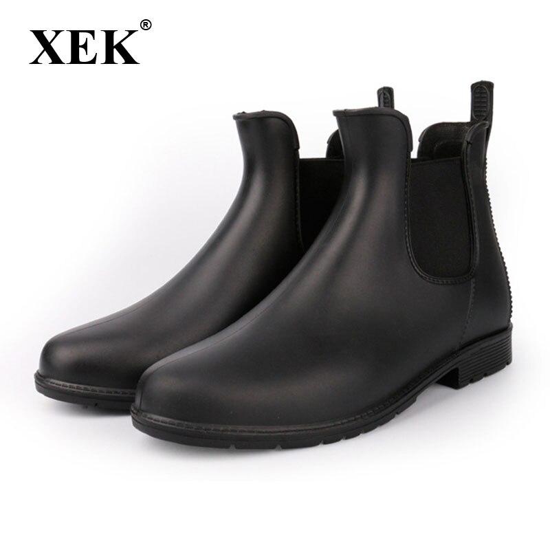 купить XEK 2018 Women's Elastic Band Non Slip Rain Boots Male Ankle Rainboots Waterproof Water Shoes Women Wellies Black ZLL216 по цене 1468.07 рублей