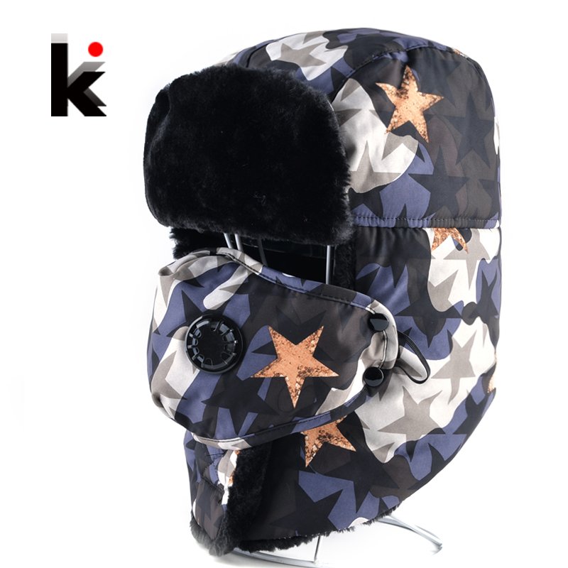 Unisex Bomber Hat Winter Faux Fur thickening Camouflage Aviator Caps Men Women Outdoor Earflap Balaclava Hats Warm Snow Mask Cap men baseball cap winter warm earflap dad hat siggi wool faux fur russian casquette gorras fitted bomber earmuff protection 67134