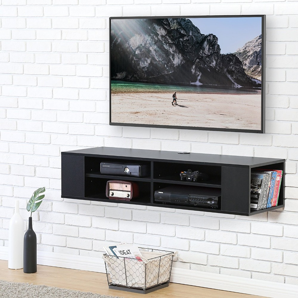 Fitueyes Wall Mounted Audio Video Console Black Wood Grain