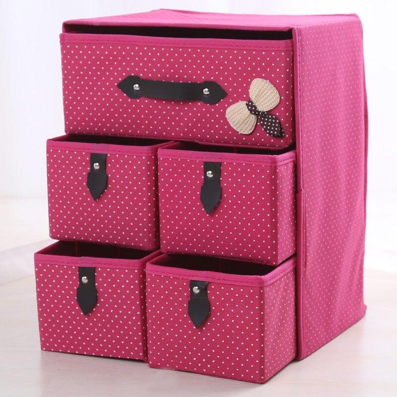 3Layer 5Drawer Underwear Bra Organizer Storage Box Drawer Closet Classified Sundries Organizers For Underwear Scarf Socks