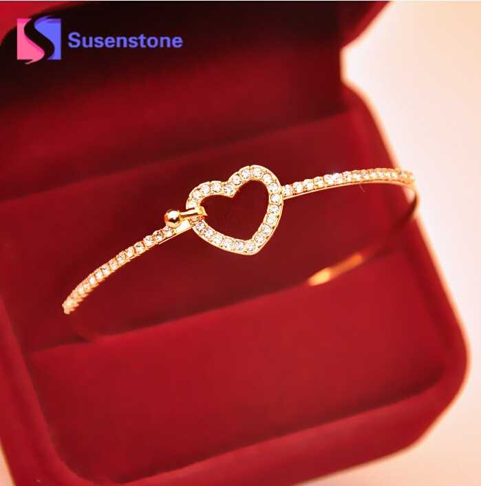 susenstone Classic Style Gold Rhinestone Love Heart Bangles Gift Bangle Cuff Plated Bracelets Jewelry for Women Feminina#0412