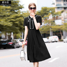 Black Dress Summer Woman 2019 New Hit Color Turn Down Collar Short Sleeved Patchwork Bow Simple Slim A-Line Ladies Dress Female long sleeved dress women 2019 spring summer new simple stripes turn down collar slim a line casual elegant dress midi s xl